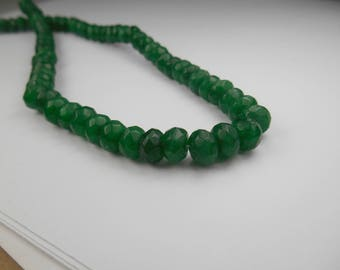 Gemstone Faceted Green Quartz Opaque  Rondelle8x5mm,  4 inch section, approx 45pieces