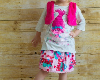 Hug Your Heart Out  Troll skirt  (2T, 3T, 4T, 5, 6, 7, 8, 10)