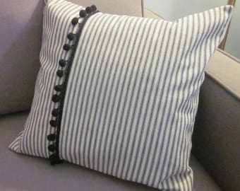 Black Ticking Pillow Cover, Decorative Pillow, Various Sizes,  Black and Off-White