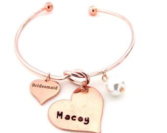 Personalized Bridesmaid Gift,Rose Gold Bangle,Custom Name,Bridesmaid Bracelet,Matron of Honor,Wedding Gift,Bridal Jewelry, Free Shipping USA