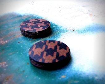 Houndstooth Stickers, 25 Round, Metallic Black Bronze Sticker Seals, Punk Rock Paper Stickers, Shimmery Envelope Seals