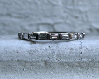 Baguette Diamond 14K White Gold Wedding Ring Band - 0.32ct.