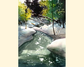 watercolor Painting PRINT winter snow creek river Trees Landscape River Stream  GICLEE