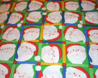 "Christmas - Santa faces in squares - cotton fabric -  43"" wide - sold by the yard"