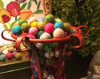 1 inch beaded felt balls, handmade felt balls, beaded felt balls, felt balls, assortment