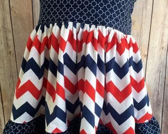 Fourth of July Dress, Baby Fourth of July Dress, July Fourth Dress, Summer Dress,  Girls Chevron Dress