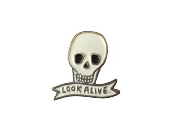 Look Alive Soft Enamel Skull Lapel Pin Badge - Black and White - Cute Enamel Pin Badge by Veronica Dearly