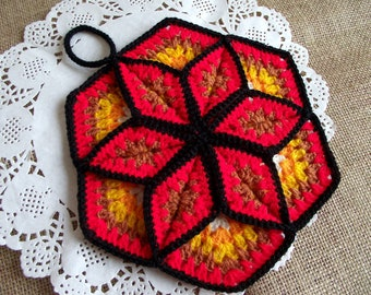 CROCHET PATTERN Pot Holder Lucky Star Pot Holder easy Crochet pattern Tea Pot Holder Granny square crochet pdf pattern Instant Download