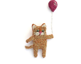 Cat jewelry, ginger cat hoding a pink balloon double brooch - party animal, cat pin, cat brooch