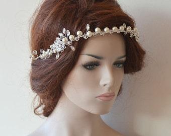 Wedding Headband, Rhinestone and Pearl Headbands,  Bridal Headpieces, Bridal Accessories, Wedding hair Accessory
