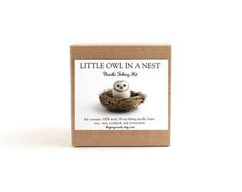DIY Kit - Little Barn Owl in a Nest Needle Felting Kit - Needle Felted Animal Kit