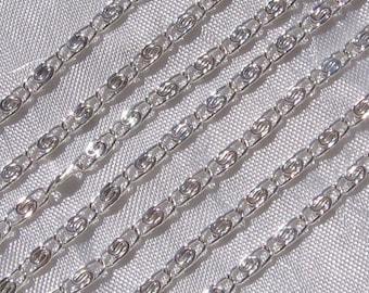 1 meter string railway 2mm x 7mm clear silver tone metal bracelet necklace * C124