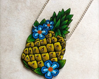 Pineapple with blue flowers tattoo necklace on silver chain old school new school tattoo summer tiki kitsch retro friendship best friends