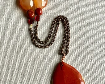 Necklace long necklace with red Jasper and carnelian