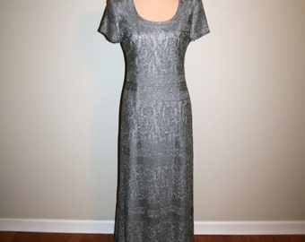 Cocktail Party Dress Lace Dress Silver Metallic Dress Maxi Size 10 Dress Christmas Holiday Special Occasion Dress Gray Medium Women Clothing