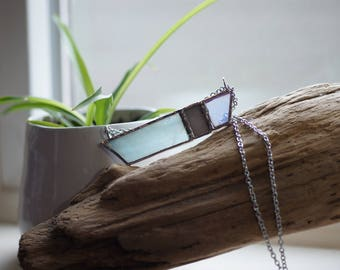 Stained Glass Jewelry - Blue Mood 'Rayas' Necklace - Geometric & Modern