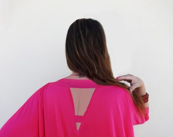 OVERALL Jumpsuit Strappy Back Drop Crotch Slouchy Deep Pink  Solid Color Wide Legs Loose Fit one-size-fits-all Batwing half sleeves