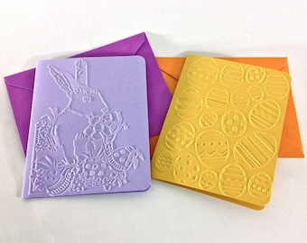 Easter Card Set Embossed Easter Card Blank Easter Bunny Easter Eggs Bright Colors Pastel Yellow Orange Pink Blue Green Lavender Happy Easter