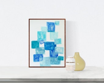 Abstract painting, blue, Original painting, white, Wall Art