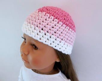 18 inch Doll  Crochet Hat White, Light Pink, Dark Pink Accessories Toys