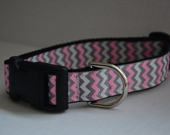 Personalized Dog Collar - Grey Pink Chevron