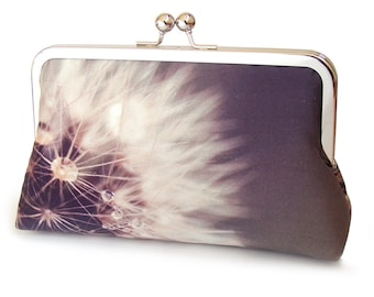 Clutch bag, dandelion purse, white seed head, bridesmaid gift, printed silk, gift box, DANDELION CLOCKS