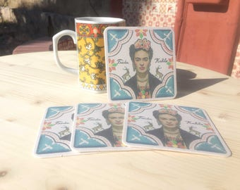 Set of 4 - Frida Coasters Mexican Gifts Drinkware Kitchenware