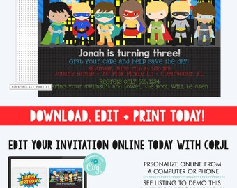 Superhero Invitation, Superhero Party, Superhero Pool Party, Superhero Birthday Invitation, Super Hero Invites, Superhero Invitations | 273