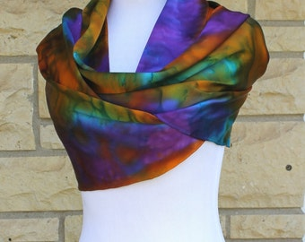 "Hand dyed Charmeuse silk scarf 14""x72"". Multi color abstract  Charmeuse silk, made to order"