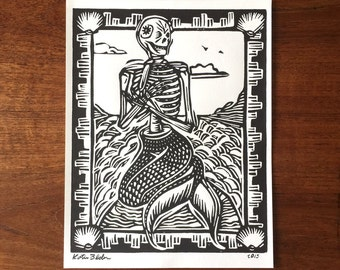 Skeletal Mermaid - Linoleum Block Print