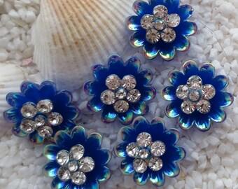 Resin Rhinestone Flower Cabochon - 17mm - 6 pcs - Blue