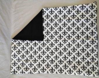 Black and White Fleur de Lis Pillow