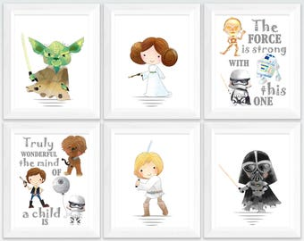 Star wars nursery printable art set,  star wars kids room wall art,  printable nursery Yoda quotes, the force is strong decor download