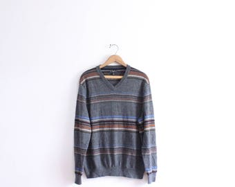 Grey Striped Slouchy Sweater