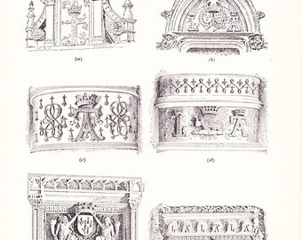 1909 Architecture - Vintage Antique Interior Design Technical Design Art Print History Great for Framing 100 Years Old