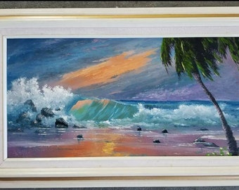 Original Painting Florida Landscape Art Tropical Seascape Painting Crashing Waves 12x24 framed whirls