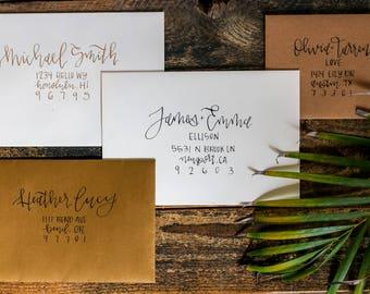 Hand Written Envelopes - Calligraphy Wedding Invitation Envelope Addressing - Hand Lettered - Custom - MOONLIGHT FONT