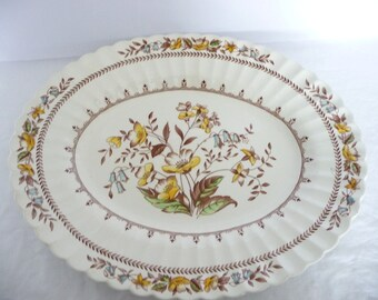 J & G Meakin England Braemar, English Staffordshire Classic White, Serving Platter, Yellow Flowers, Lily Of The Valley, Wedding