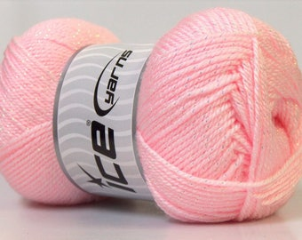 balls of acrylic and lurex in 100grs candy brand ICE Yarns
