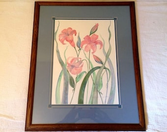 Pink LILY Watercolor Painting Framed Signed Connie Seiquette Original Flower Vintage