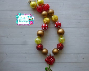 Beauty and the Beast Rose Chunky Necklace Bubblegum Bead Necklace Belle Rose Necklace