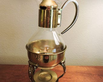 Vintage Mid Century Modern MCM 1960's Gold Tone Brass Coffee Carafe Pitcher with Warmer Stand