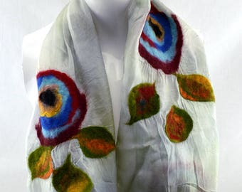 Nuno Felted Silk Scarf from Bursa, Turkey: Floral Pattern