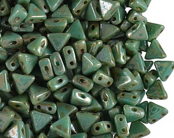 50pcs Kheops Par Puca Beads  - czech pressed 2-hole glass beads, Triangle, 6 mm, Opaque Green Turquoise Picasso (KP089)