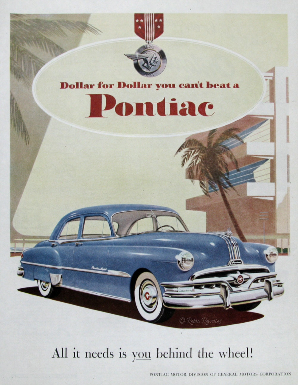 1951 Blue Pontiac Eight Ad 1950s General Motors Cars