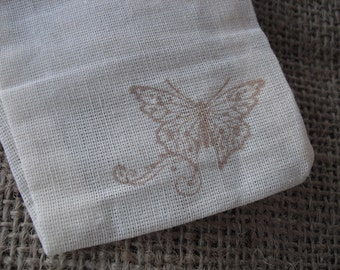 Favor Bags - SET OF 10 Rustic Butterfly Muslin Favor Bags Gift Bags or Candy Bags - Item 1196