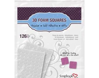 Scrapbook Adhesives 3D Foam Squares White Regular