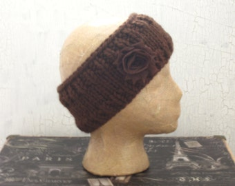 Ear Warmer, Chunky Headband, Knit Ear Warmer, Knit Head Wrap, Winter Ear Warmer , Brown Chunky Headband, Wide Headband, Brown Headband