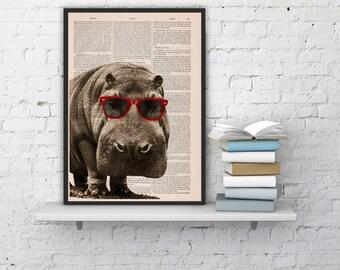 Cool hippo with sunglasses home decor hip po animal art cool hippo with sunglasses home decor thee hippo animal art printed on vintage book sheet nursery teraionfo