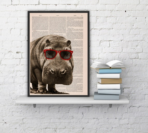 Cool Hippo with Sunglasses  Home decor THEE HIPPO Animal art printed on Vintage Book sheet  Nursery wall art ANI013